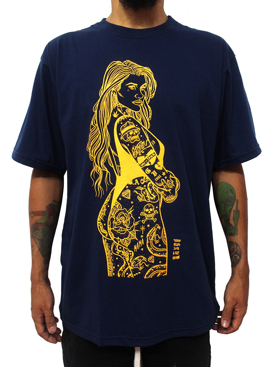 Camiseta Pinup Tattoo Old School Ray Brown Azul
